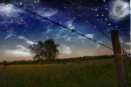 gloaming: Starry Night with moon and Farmers Fence and field