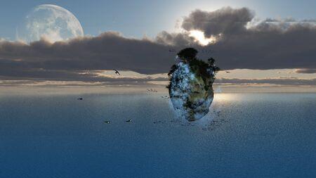 floating island: Fantasy Floating Island