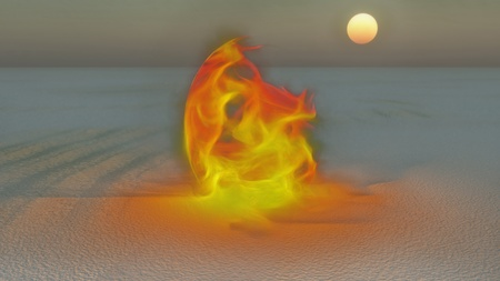 Fire burning in desert Sands Stock Photo - 21046917