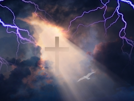 sun worship: Lightning Stikes while cross is revealed in sunlight streaming Stock Photo