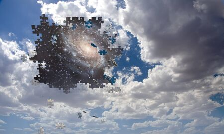 jig saw puzzle: Puzzle piece daytime sky reveals night sky