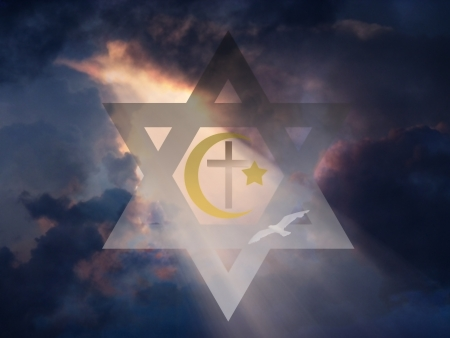 Star of David, Muslim Cresent and Cross photo