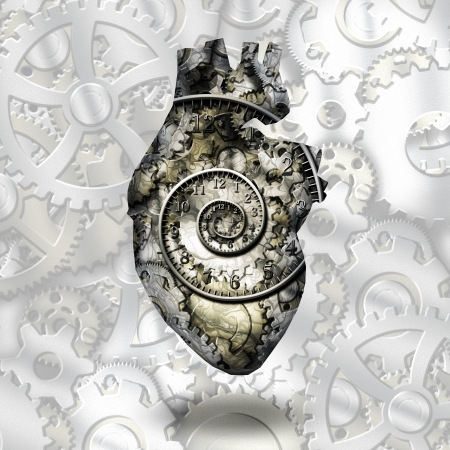 Human heart gears and time spirial photo