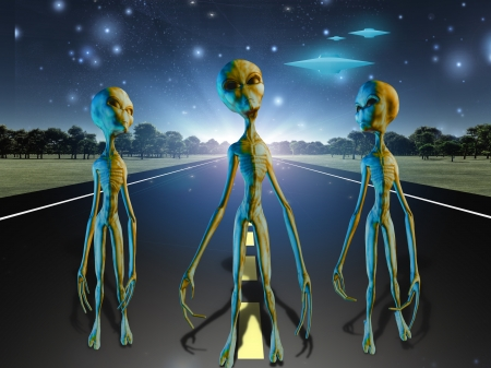 Aliens on country road photo