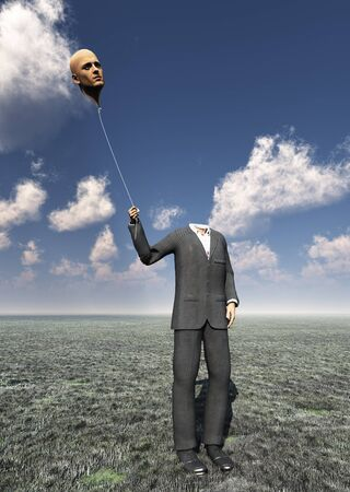 inflating: Head less man holds balloon head