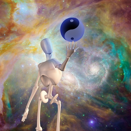 opposing: Robot holds yin yang sphere with nebulous space background