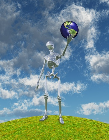 gaia: Shiny Silver Robot Stands on Hilltop Arm Outstretched Holding Earth Model