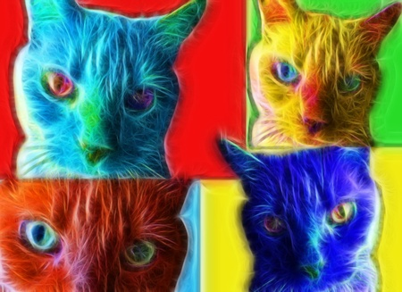 furry animals: Cat Pop Art Style