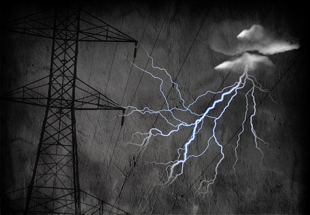 High Tension Power Lines with Electric  photo