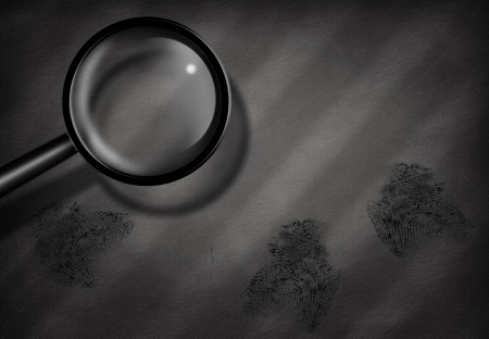 magnify: Fingerprints and Magnifying Glass Stock Photo
