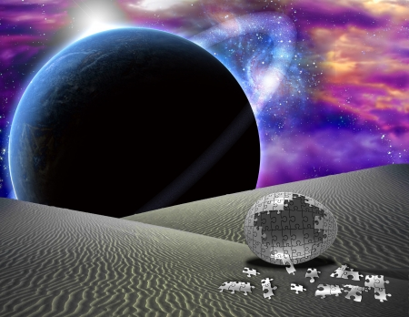 Puzzle egg on alien planet Stock Photo - 21639394