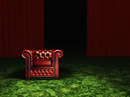 green carpet: Luxurious Arm Chair in Room with Green Carpet and Red Curtains