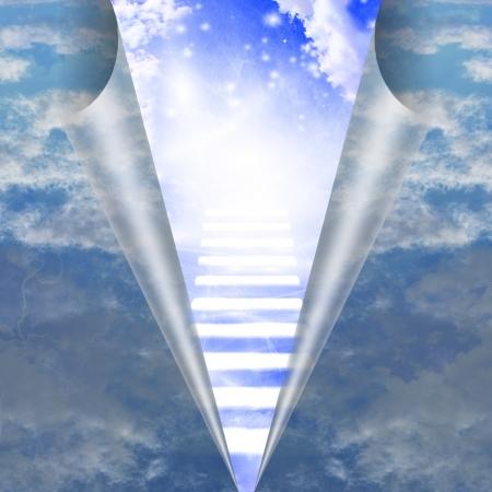 Trap in de hemel wordt geopenbaard Stockfoto