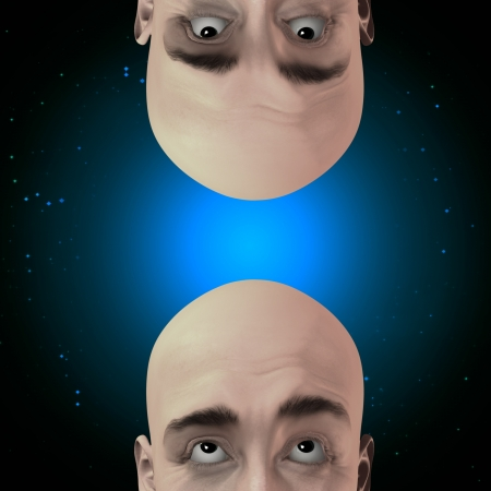 gaze: Two men gaze with stars