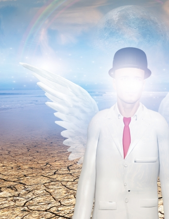 obscured face: Winged figure with obscured face in surreal landscape Stock Photo