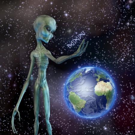 alien face: Alien looks at DNA strand