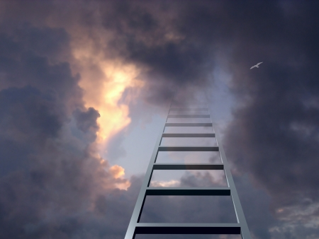 Ladder into dramatic sky photo