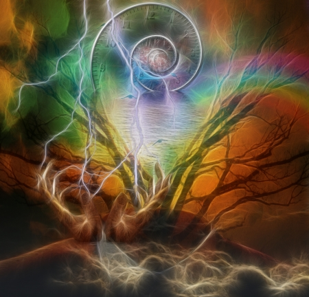 shamanism: Surreal artisitc image with time spiral Stock Photo