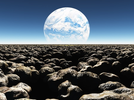 Rocky Landscape with planet or earth with terraformed moon in the distance Stock Photo - 21639587