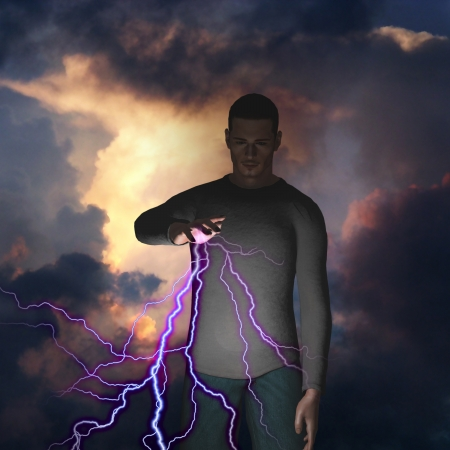 hands in the air: Man with power over lightning