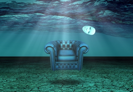surreal landscape: White Mask and armchair floats in underwater desert  Stock Photo