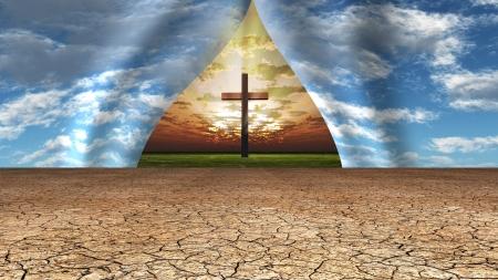 vangelo aperto: Sky smembrato a rivelare croce, la luce e il luogo al di là