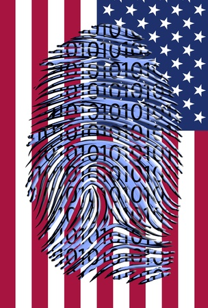 Binary finger print over US Flag Stock Photo - 21827143