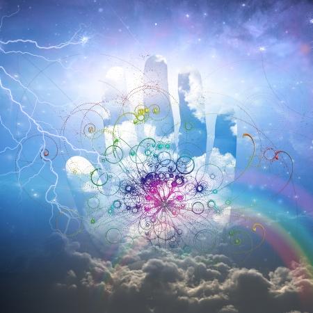Main ouverte et la conception des particules