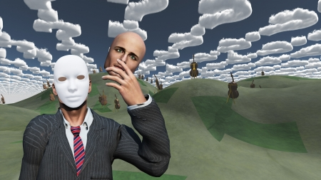 mind body soul: Man removes face to reveal mask underneath in surreal landscape