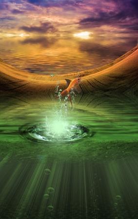 fantasy: Fantasy landscape with splash from goldfish