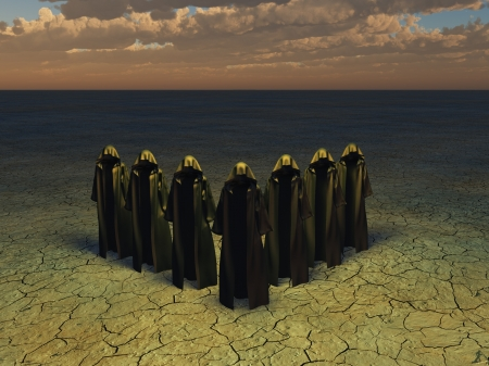 priest's ritual robes: Hooded figures in barren landscape