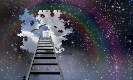 disintegration: Ladder to the sky leads into day Stock Photo