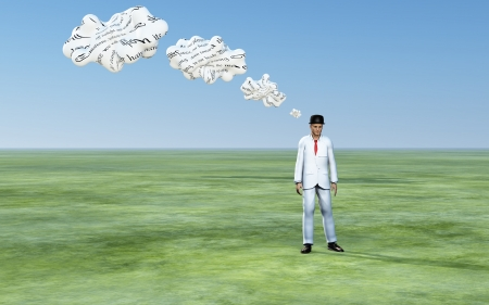 communicate concept: Man with 3D white thought clouds with text Stock Photo
