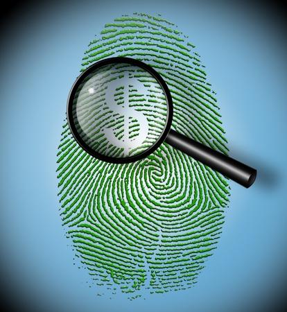 theft proof: Dollar Symbol in fingerprint under inspection