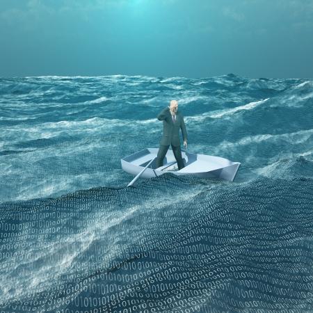 защита: Человек течению в крошечной baot в двоичном океана