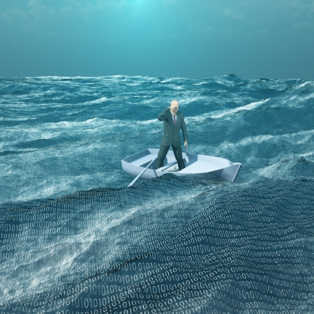 big and small: Man Adrift in tiny baot in binary ocean