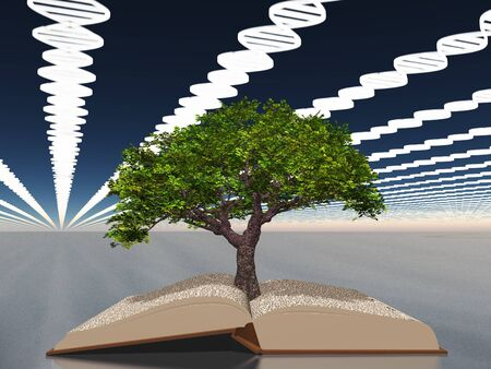 scientific literature: Book of life with tree of life Stock Photo