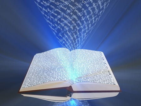 source: Book with floating text and light