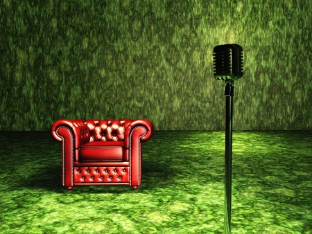 classic living room: Green Chair with red curtain