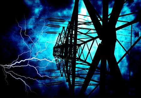 High Tension Power Lines with Electric  Stock Photo - 22147323