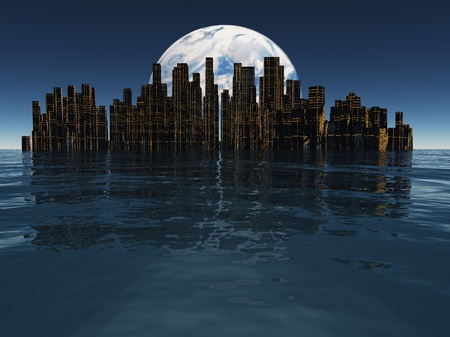 futuristic city: Island or floating city with planet or moon visible beyond