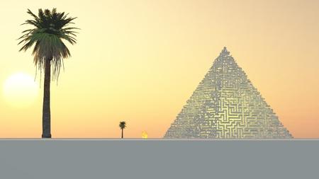 pyramid peak: Other worldy maze pyramid lit from inside