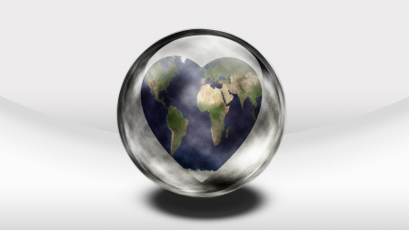 Earth Heart in glass container photo