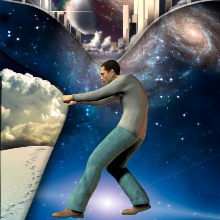 Man stretches space time to show power beneath Stock Photo - 22147359