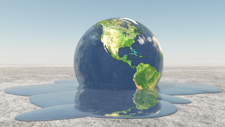 global warming: Earth melting into water