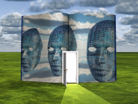 concept magical universe: Book with science fiction scene and open doorway of light Stock Photo
