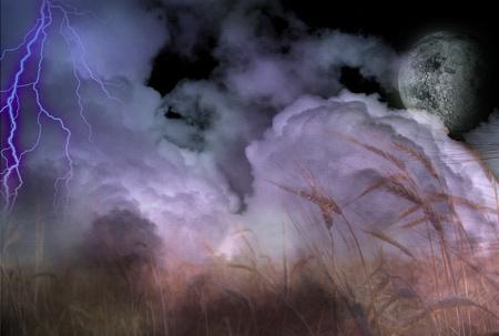 moonrise: Stormy Lightning Strike and Field of Grain