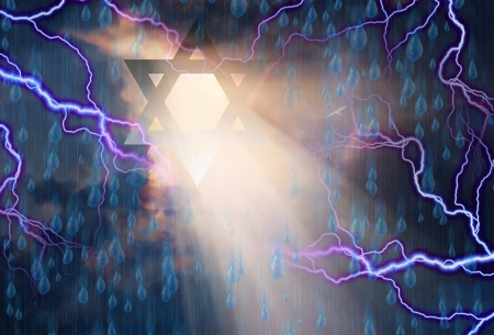 channukah: Stars of David in Stormy Sky Stock Photo