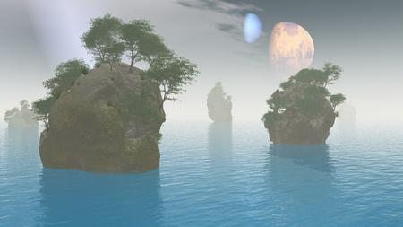 moons: 2 moons over alien landscape