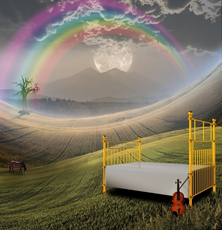rainbow scene: Bed and Violin in Peaceful Landscape with Mountain